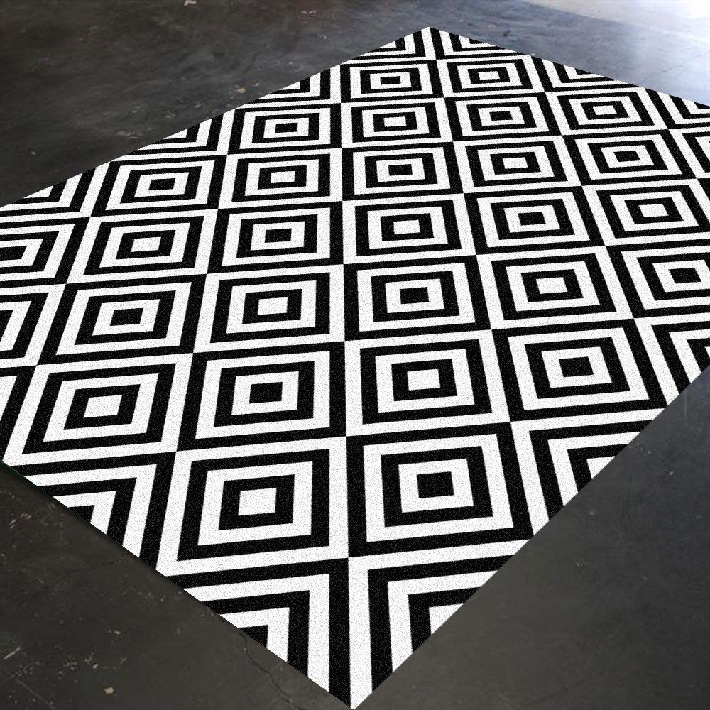 Black And White Rug Geometric Rug Bedroom Rug Living Room Rug