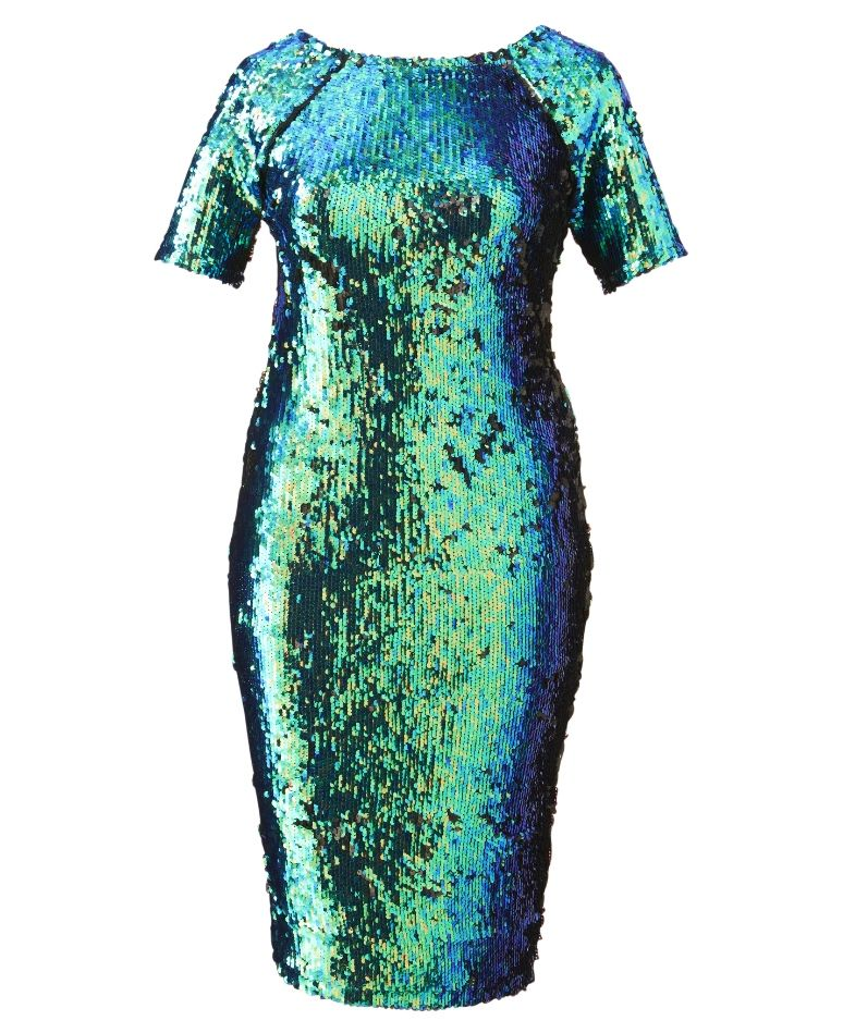 Green sequin dress plus size