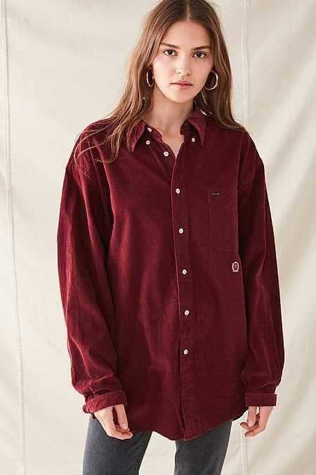 Women/'s Buttons Down Corduroy Shirt Tops Casual Plain Lapel Blouse Ladies Tops