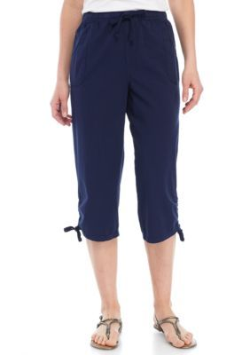 Kim Rogers Harbor Navy Cinched Hem Sheeting Capris