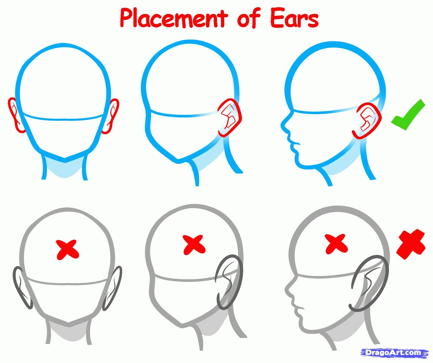 Ear Placement Anime Drawings Anime Drawings Tutorials Drawing Reference