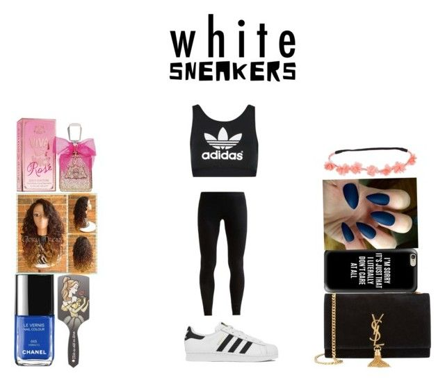 """white sneakers"" by laniqua-mosley ❤ liked on Polyvore featuring adidas Originals, NIKE, Yves Saint Laurent, Casetify, Disney, Juicy Couture and adidas"