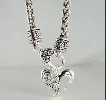 Silver Heart Vintage Necklace, bracelet, earrings