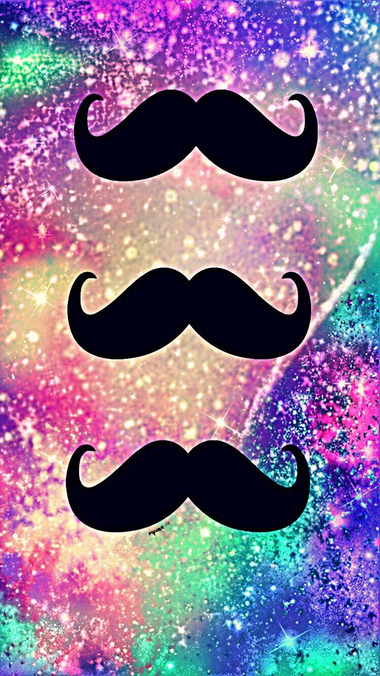 cute mustache glitter galaxy wallpaper ��������������e�