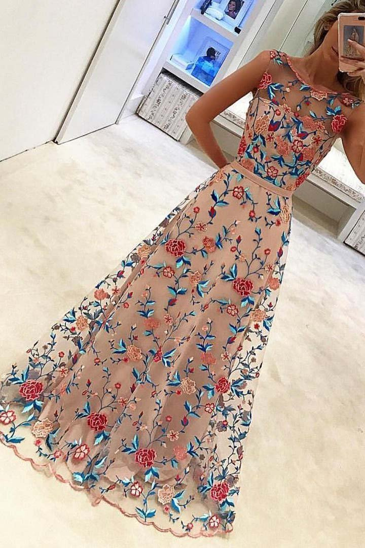 1f231f2a0 New Style Popular A Line Sleeveless Long Prom Dresses Formal Dress ...