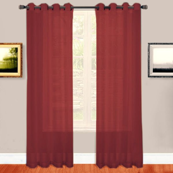 Warm Home Designs 1 Pair Of Burgundy Red Voile Sheer Window Curtains With Grommet Top