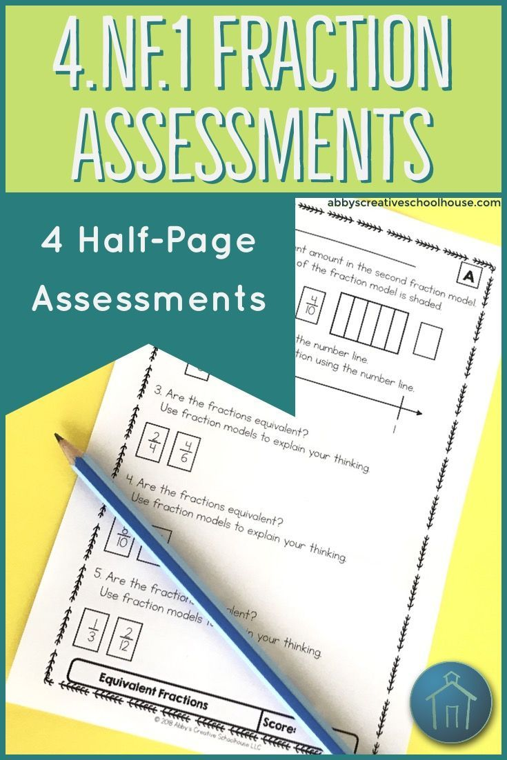 4.NF.1 Assessments Equivalent Fractions Math lesson