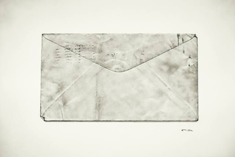"""Saatchi Art Artist Alexandre Granger; Drawing, """"Old paper"""" #art 9/18/16 I like this one because it's so realistically done that it looks like a photograph. I admire the skill of this artist and the character of the envelope, all of the marks and creases."""