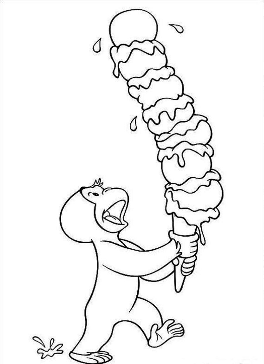 Curious George Having Ice Cream Coloring Page Photos Cartoon At
