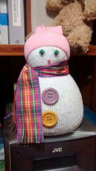 Muñeco de nieve hecho con calcetines!