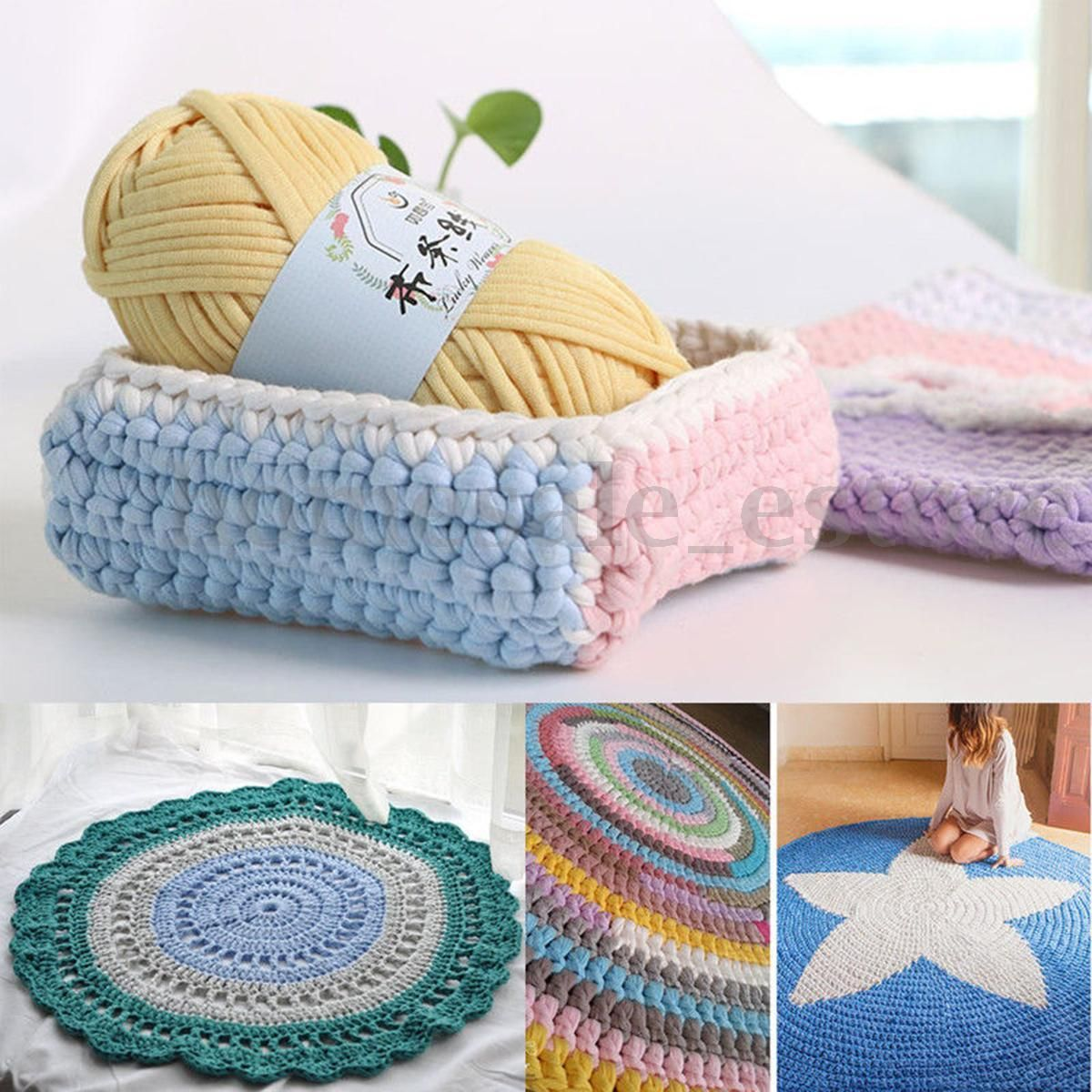 100g Soft Fabric Yarn DIY Rug Carpets Basket Blanket Crochet Yarn Hand Knitting