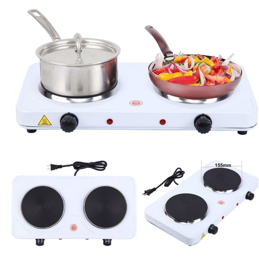 2000w Electric Double Burner Hot Plate Portable Heating Cooking Stove Kitchen Camping Cooking Stove Portable Heating Double Burner