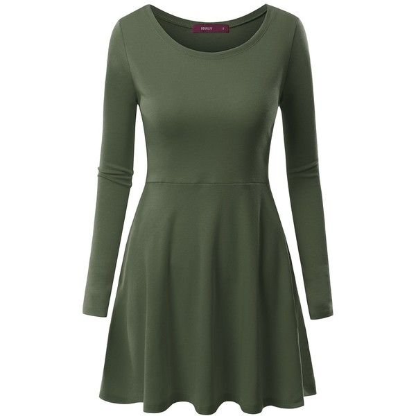 Doublju Womens Casual Simple Designed Long Sleeve Flare Short Dress (€13) ❤ liked on Polyvore featuring dresses, tops, green dress, flare mini dress, short dresses, flare dress and mini dress