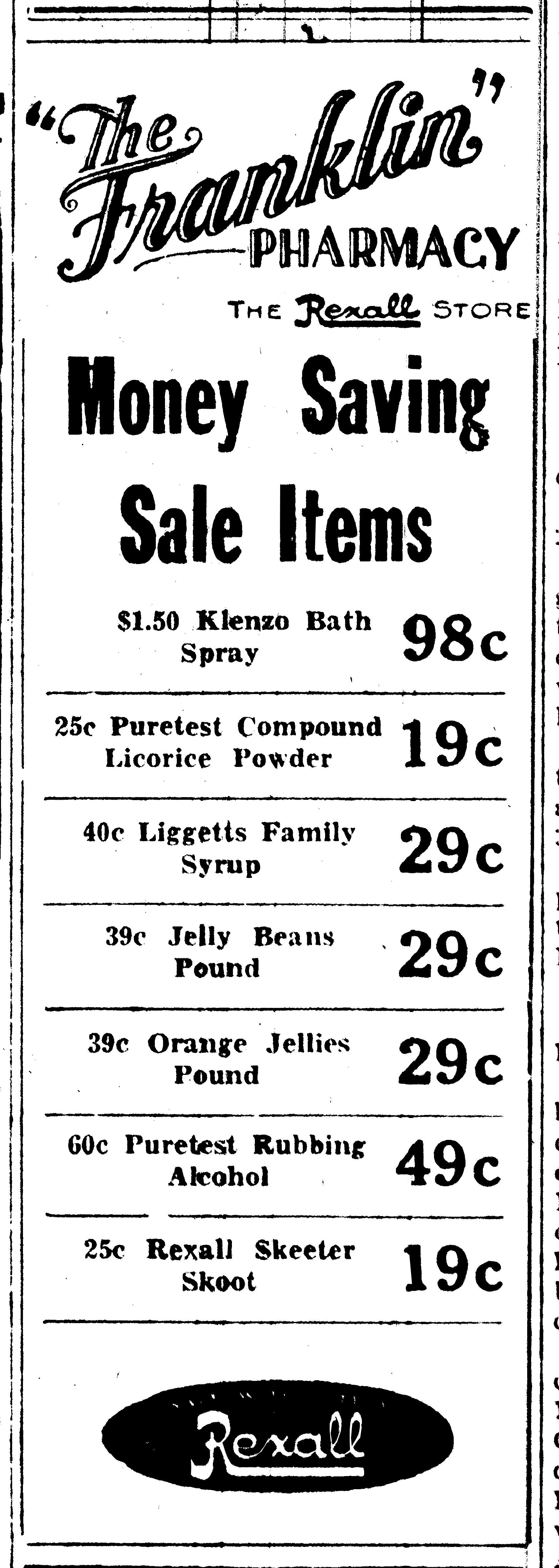 July 1927 ad Franklin Pharmacy Pharmacy