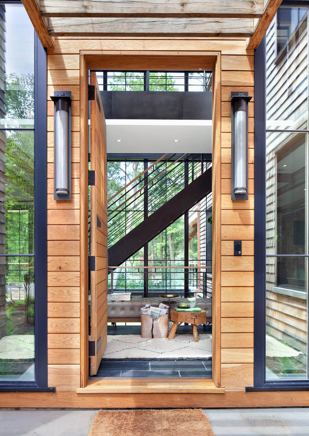 House wooden window design  modern lake house  apd light fittings and front entry