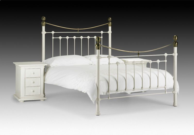 Victoria metal bed frame in stone white & brass single double ...