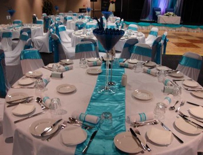Teal Table Runners Wedding