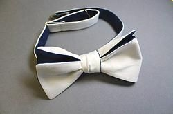 handmade self tie bow tie white and navy - 300 thread count Dunham Sateen from Ralph Lauren - at Scovill Design - $35