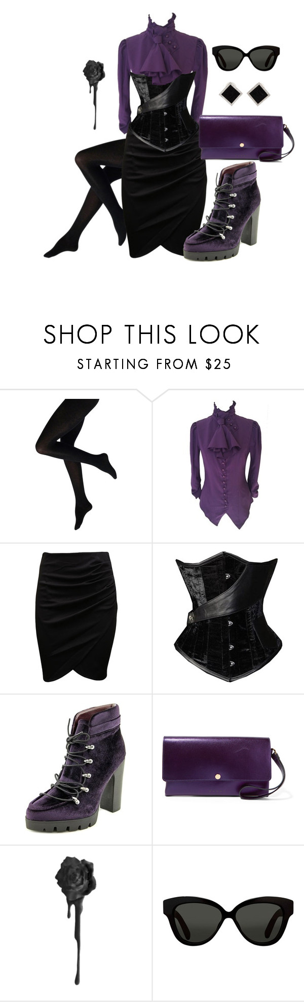 """""""Courtirg"""" by theeverydaygoth ❤ liked on Polyvore featuring Report, Marni, Linda Farrow and Yvel"""