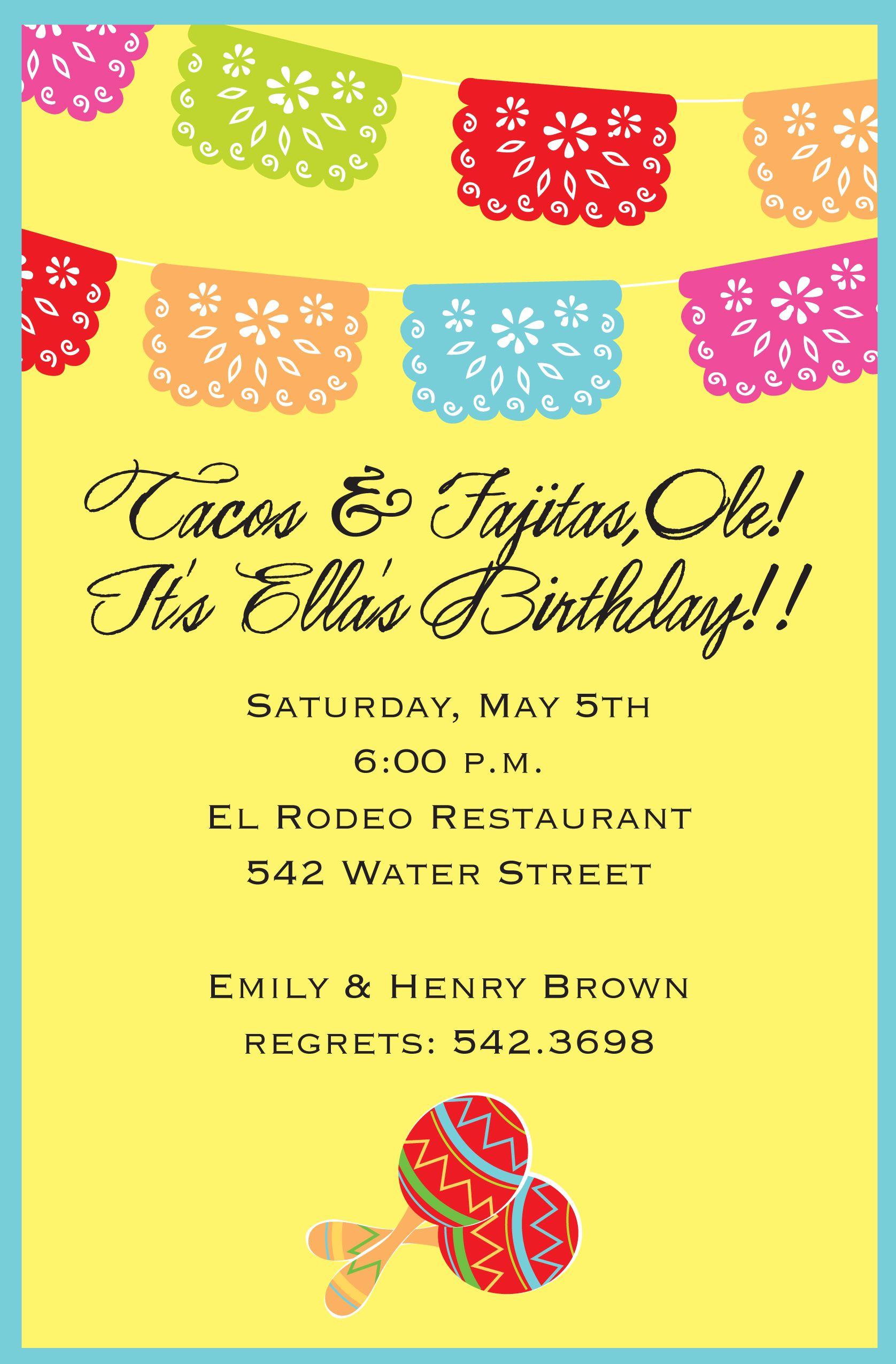Inviting Company Fiesta Banner Birthday Party Invitation #fiesta ...