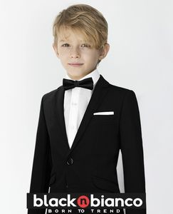 c0858ee2e1c9 Black N Bianco Signature Boys  Modern Slim Tuxedo Suit in Black with a Bow  Tie