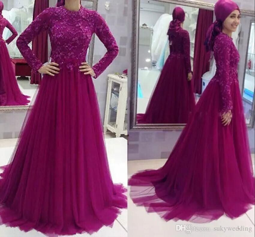 Elegant Muslim Lace Evening Dresses Plus Size Evening Gowns High ...