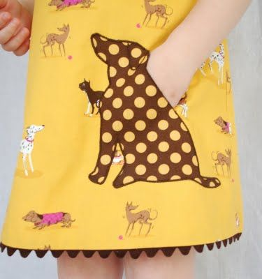Adorable pocket-could adapt this for sew many different styles