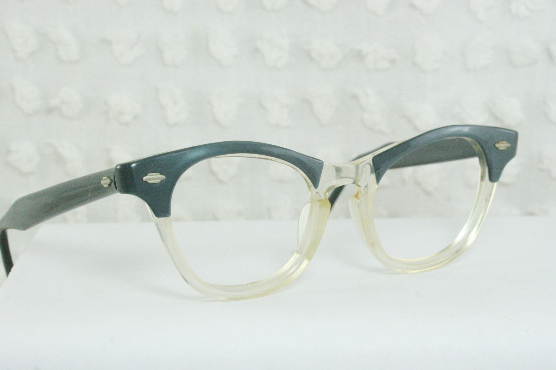 1960\'s Cat Eye Glasses 60s Womens Eyeglasses Blue Pearl Split ...