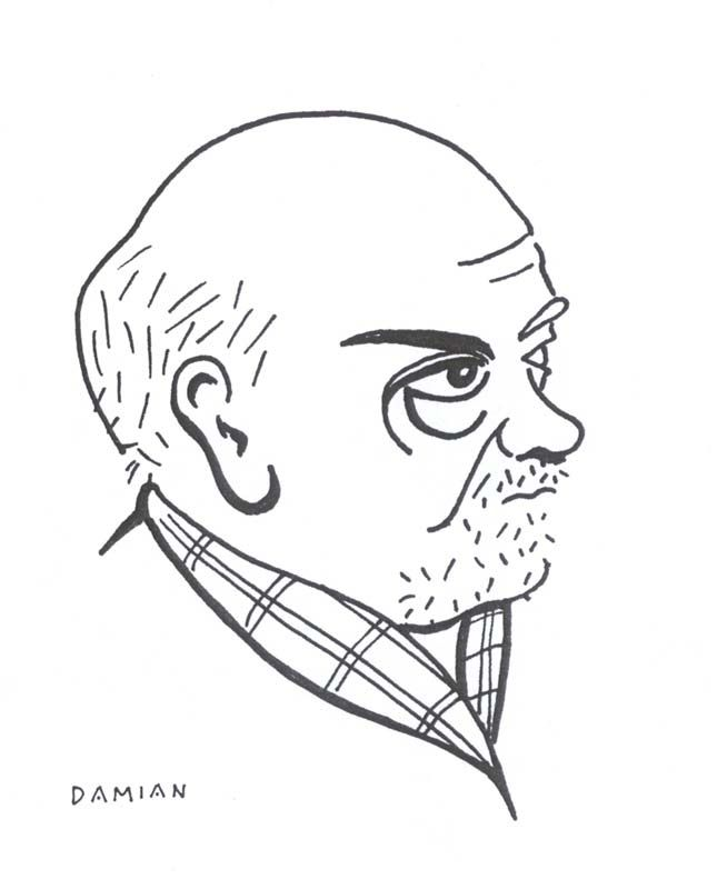 Caricatura de Pío Baroja, por Damián Flores Llanos