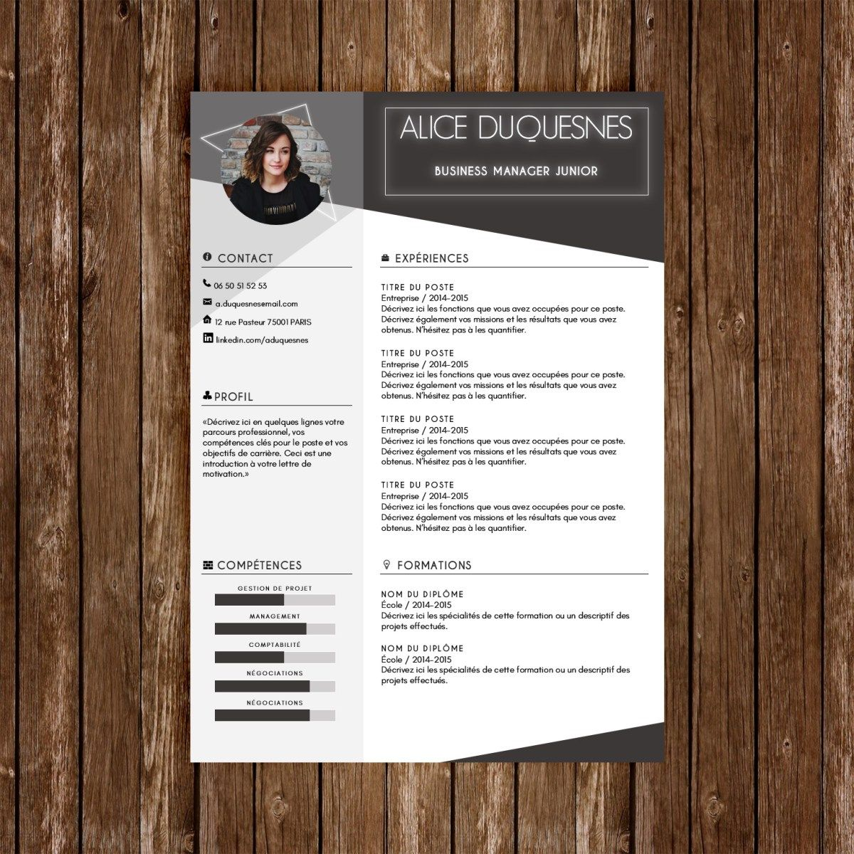 "Modèle CV Premium ""Blackboard"" Cv words, Resume template"