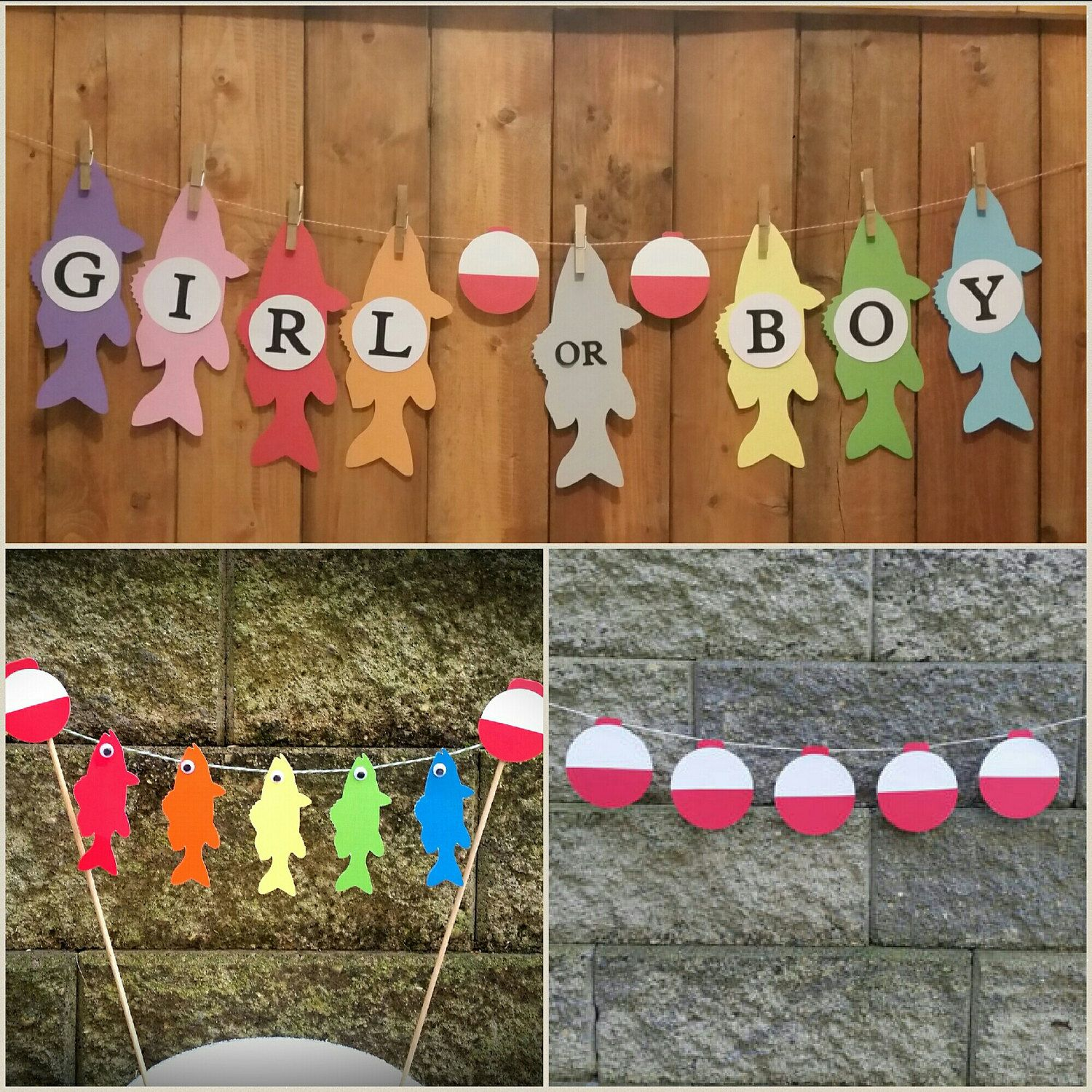 fishing baby shower fishing cake topper gender reveal