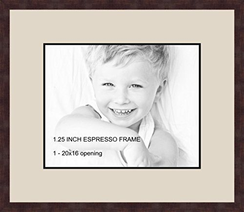 Art to Frames Double-Multimat-502-844/89-FRBW26061 Collage Frame Photo Mat Double Mat with 1 - 16x20 Openings and Espresso frame