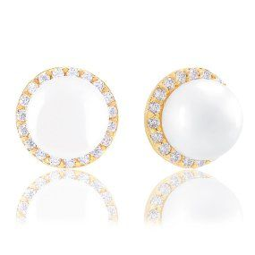 18k Yellow Gold Plated Round Shell Pearl with Cubic Zirconia Halo Stud Earrings (8-8.5 mm)