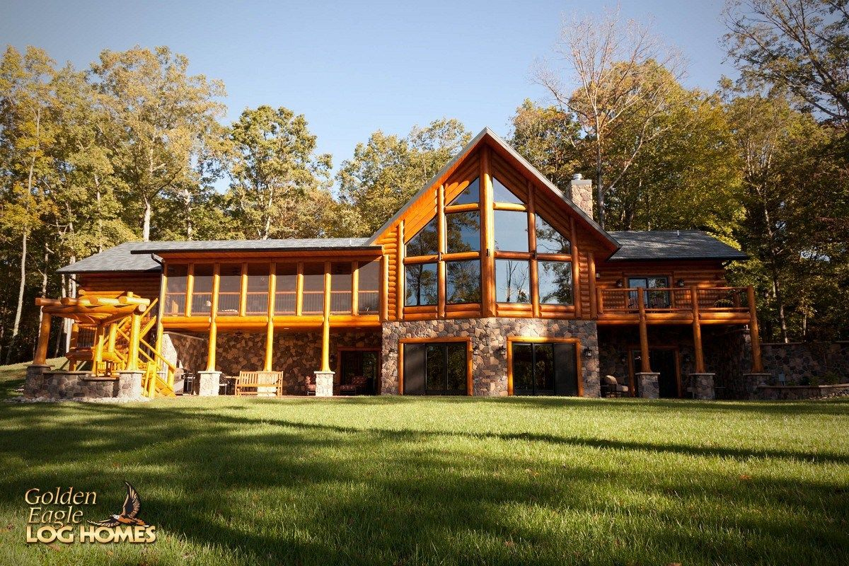 stone and log home plans. walkout basement level deck flared bottom rock stone glass ranch style house  floor plans