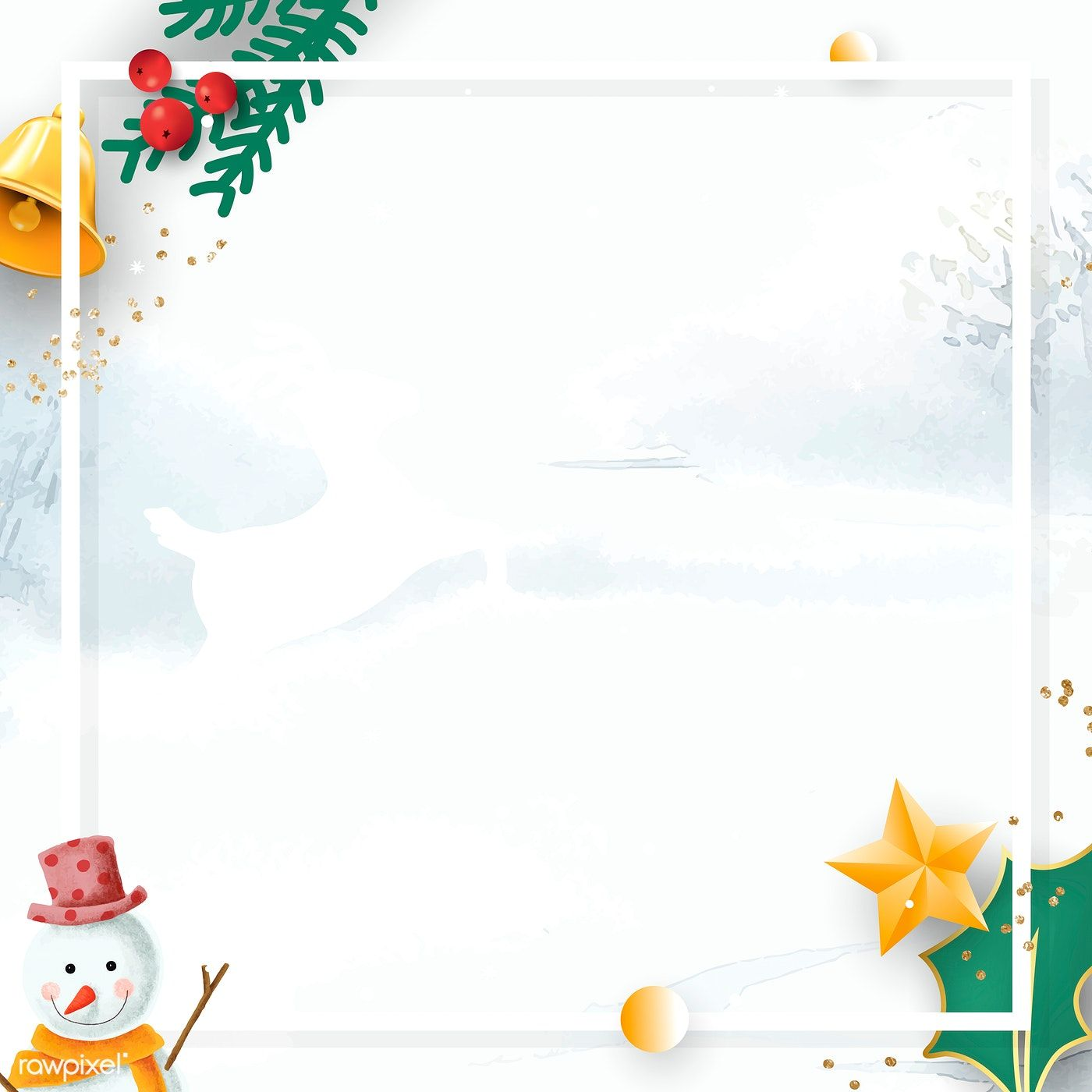 Download premium vector of Christmas frame on winter background mobile #winterbackground