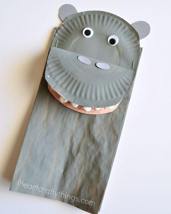 Paper Bag Craft Ideas For Kids Part - 37: Paper Bag Hippopotamus Kids Craft