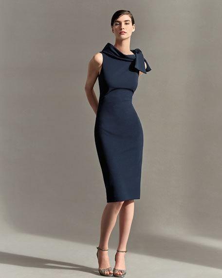 Badgley Mischka Collection Sleeveless Tie-Neck Cocktail Dress #cocktaildress