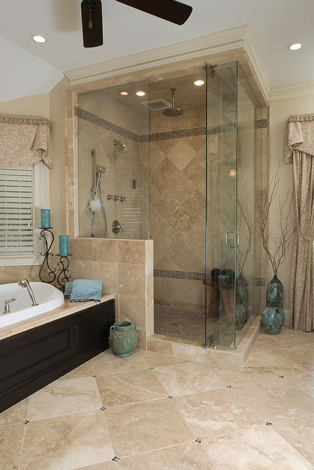 A small 36 x 36 inch shower was removed and a large custom size ...