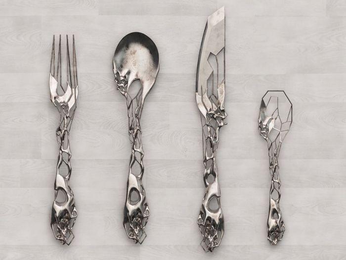 3d Printed Silverware So Badass Cutlery Set Silverware Design