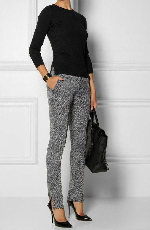 business kleider schwarze bluse elegante graue hose grose. Black Bedroom Furniture Sets. Home Design Ideas