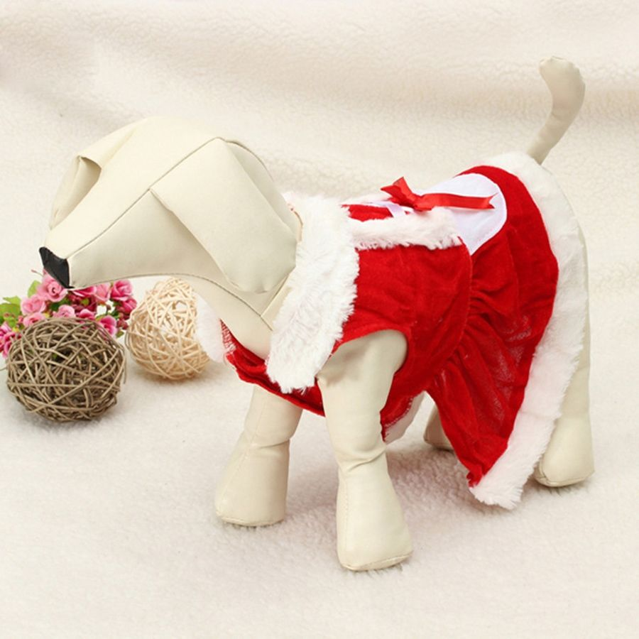 Pet Puppy Dog Christmas Clothes Santa Outwear Coat  Pet dog skirt 5 size colour New Year Christmas party dog dress up Vest