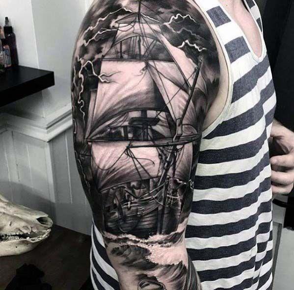 Top 37 Sailor Sleeve Tattoo Ideas 2020 Inspiration Guide Boat Tattoo Tattoo Sleeve Men Nautical Sleeve