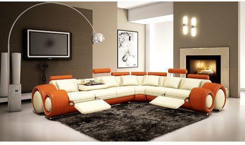 Hokku Designs Reclining Sectional Contemporary Living Room