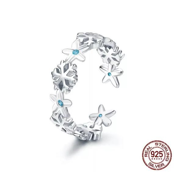 925 sterling silver Snowflake Ring Cubic zirconia Flower Ring Open ring anniversary gift for mom gift for sister gifts Christmas ring