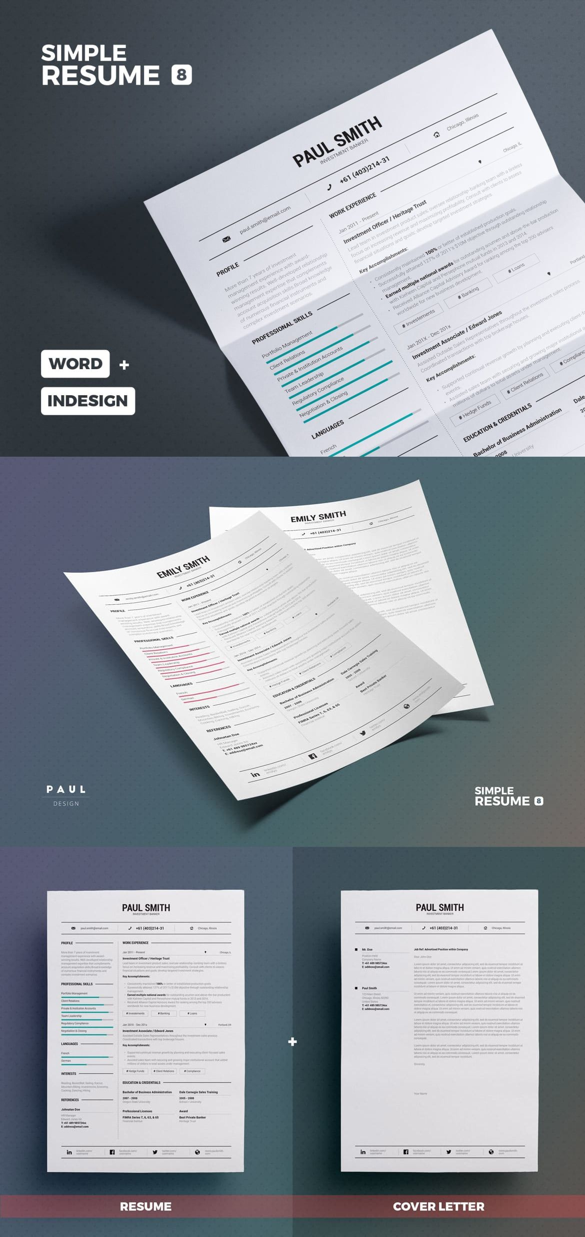Simple Resume/Cv Template INDD - A4 and US Letter Paper Size ...