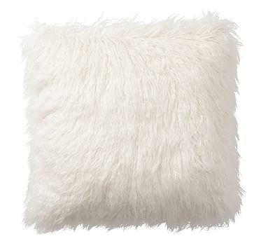 Mongolian Faux Fur Pillow Cover 18 Ivory