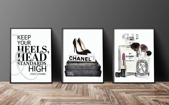 Set of 3 24x36 fashion posters silver effect black and white