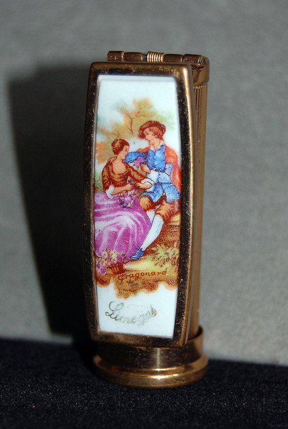 limoges lipstick case with beveled mirror - Fragonard signed porcelain