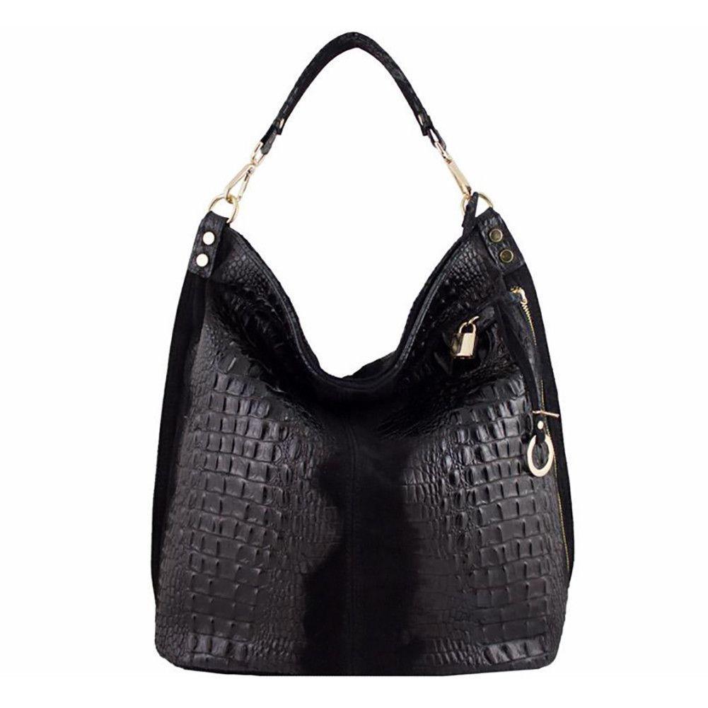 Sassari - Suede bag with croc pattern, large shoulder bag