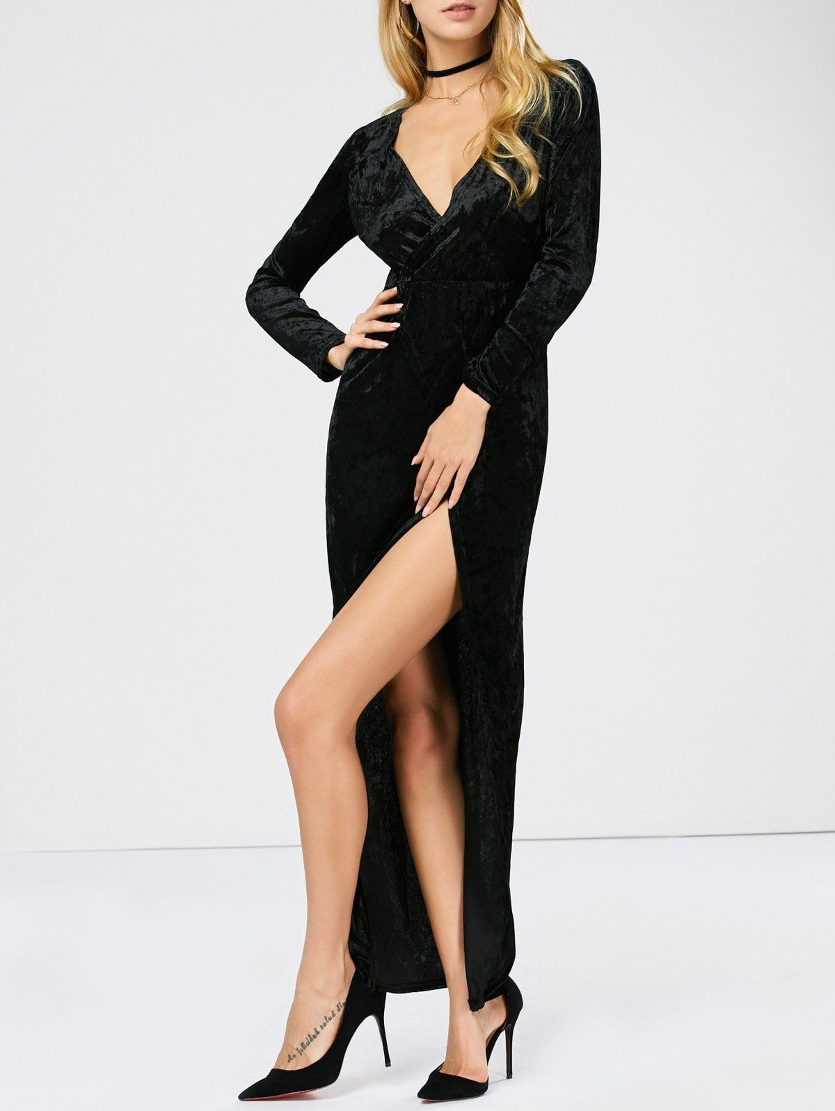 Long sleeve velvet high slit maxi prom dress tina pinterest